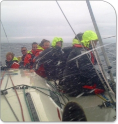 Beating across the irish sea