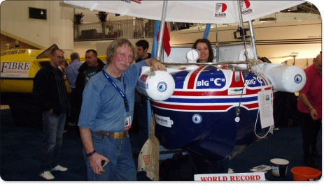 Tom with a visitor to the London Boat Show